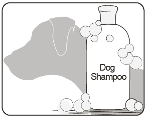 image of dog outline with shampoo wash dog shampoo
